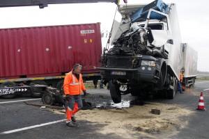 Két kamion összeütközött az M43-as autópályán Szeged hat